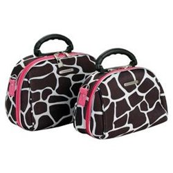 Pink Giraffe 2 Piece Cosmetic Case Set
